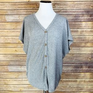 Fantastic Fawn Grey Thermal Button Down Top Blouse